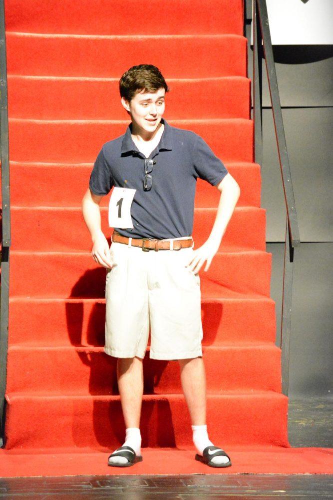 Senior Micheal Pearce models casual wear