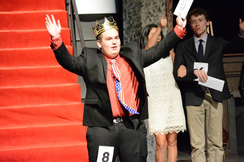 Senior Brendan Triola Celebrates his victory in