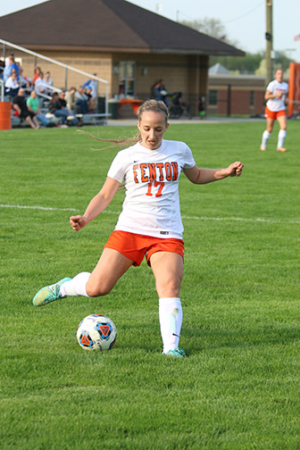 Sophomore Lauren Lamb attempts to kick the ball into the goal. The Varsity Girls Soccer Team mercied Kearsley.
