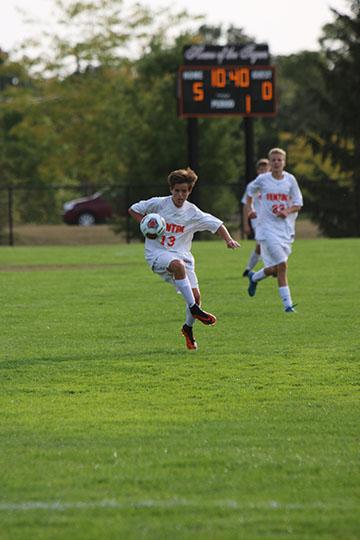 Freshman Gavin Shepherd dribbles down the field and attempts to score. The JV boys soccer team beat Kearsley 5-0.