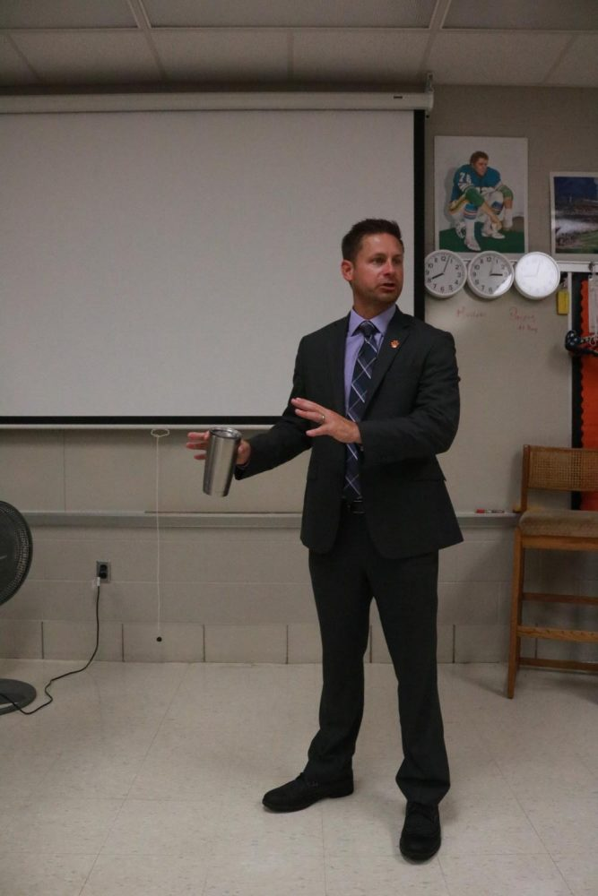 Visiting SRTs and introducing himself, Superintendent Adam Hartley welcomes both new and returning students to the 17 - 18 school year.