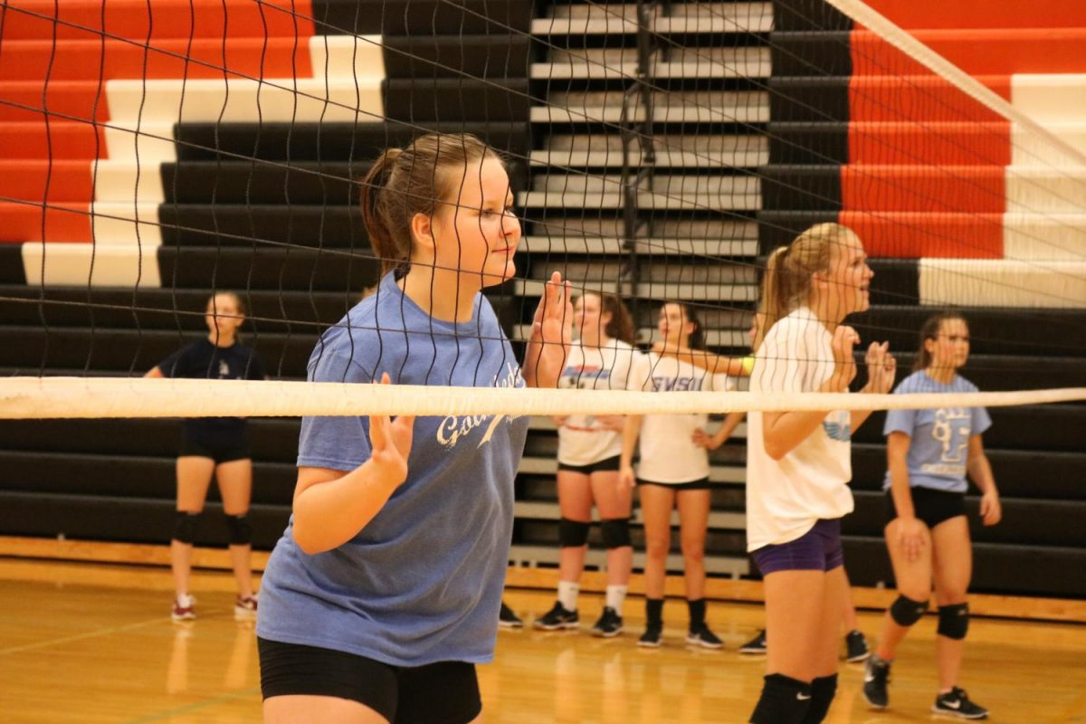 Freshman Allison Brown and Korryn Smith compete against their parents during Family Fun Night hosted by the volleyball program.