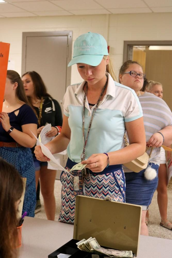 Senior Molly Gundry at orientation for the 2017-2018 school year. Molly was paying for her parking pass.