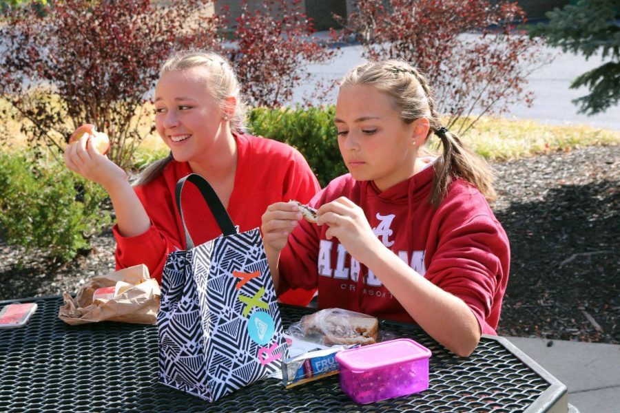 Participating in favorite sports team day, freshman, Elizabeth Donohue shows off her favorite team during lunch. Students around the school took part in this year's homecoming spirit week.