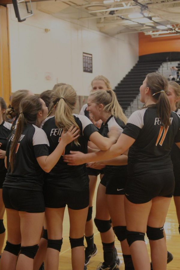 The Freshman Volleyball Team finding out they are 1 in their Metro! The last Freshman Volleyball game is October 26th at Fenton High school against Powers.