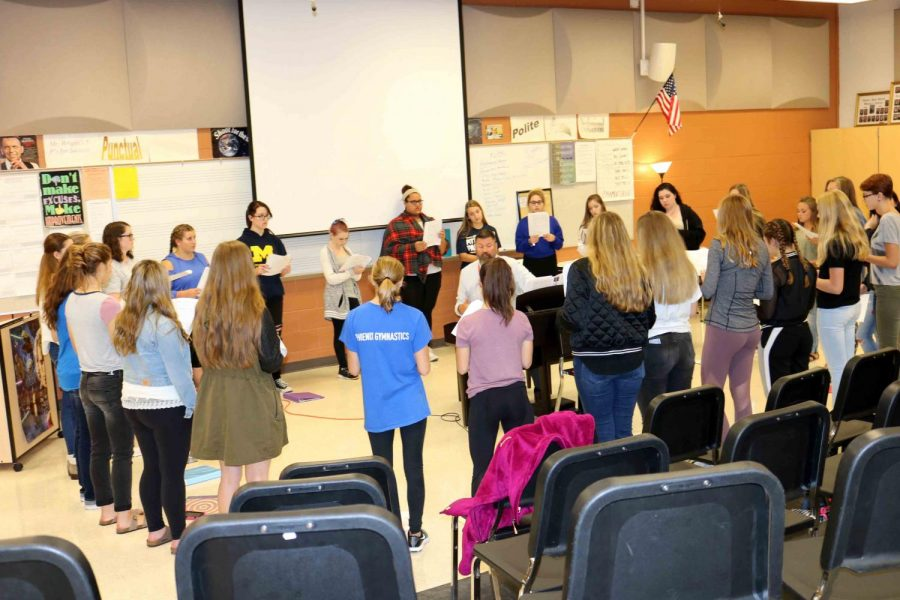 Brad Wright's Bella Voce class prepares for their first concert, set for the weekend of Sept. 24. Wright and his students worked exceptionally hard to put on a memorable performance for friends, family, and other fenton citizens.
