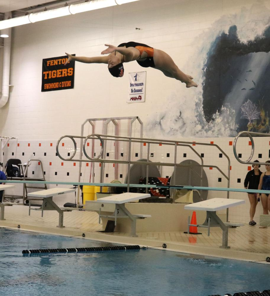 On September 21st, Sophmore Morgan Smith does a back dive into the Fenton Highschool pool. This was the Diving qualifying meet during County's. The Varsity Swim and Dive team came in 2nd place right behind Grand Blanc.