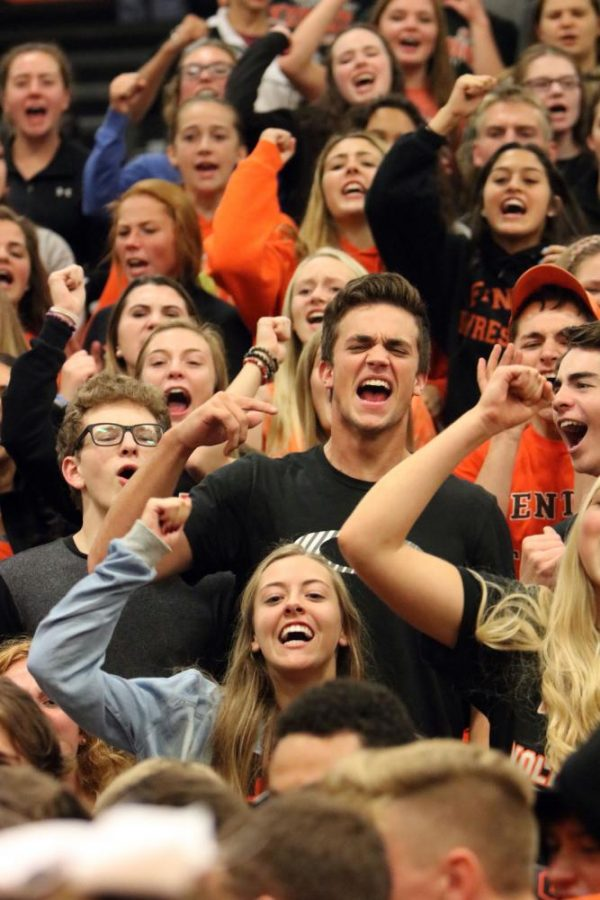 Junior Jared Ryan at the homecoming pep assembly. Jared was chanting the battle cry trying to score points for his grade.