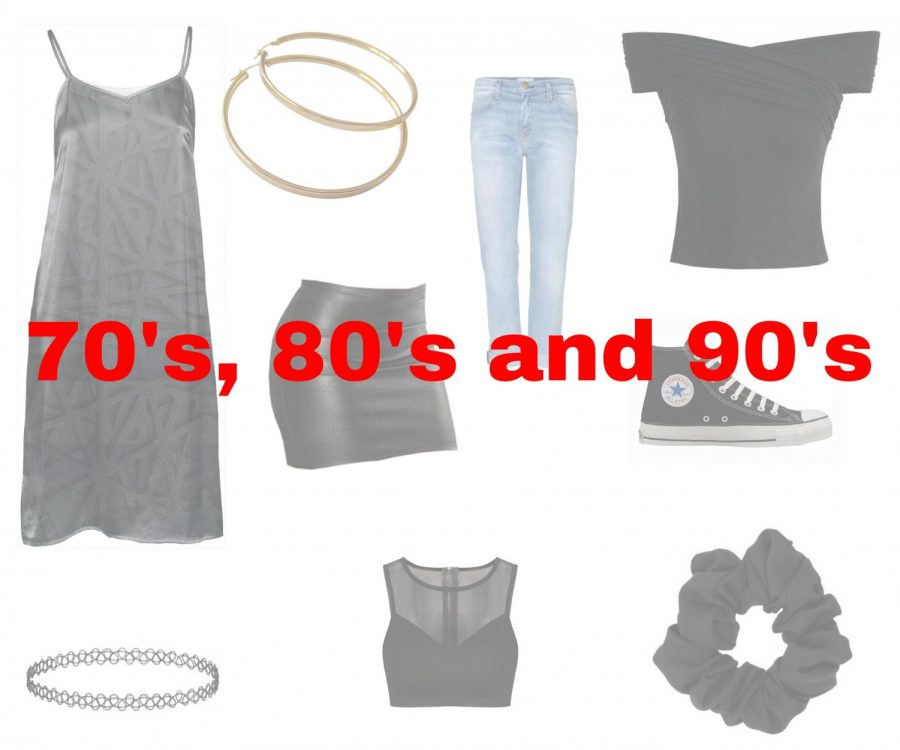 Rachel Green, Winona Ryder, Kate Moss are the superstars of the 90's along with Cindy Crawford, Brooke Shields, and Kim Basinger of the 80's with alongside Bianca Jagger, Farrah Fawcett, and Debbie Harry of the 70's. The fashion trends of the past eras are re-emerging and being reused  for a fresh modern trend. The trends of this year are being reused from previous decades that brought today's culture.