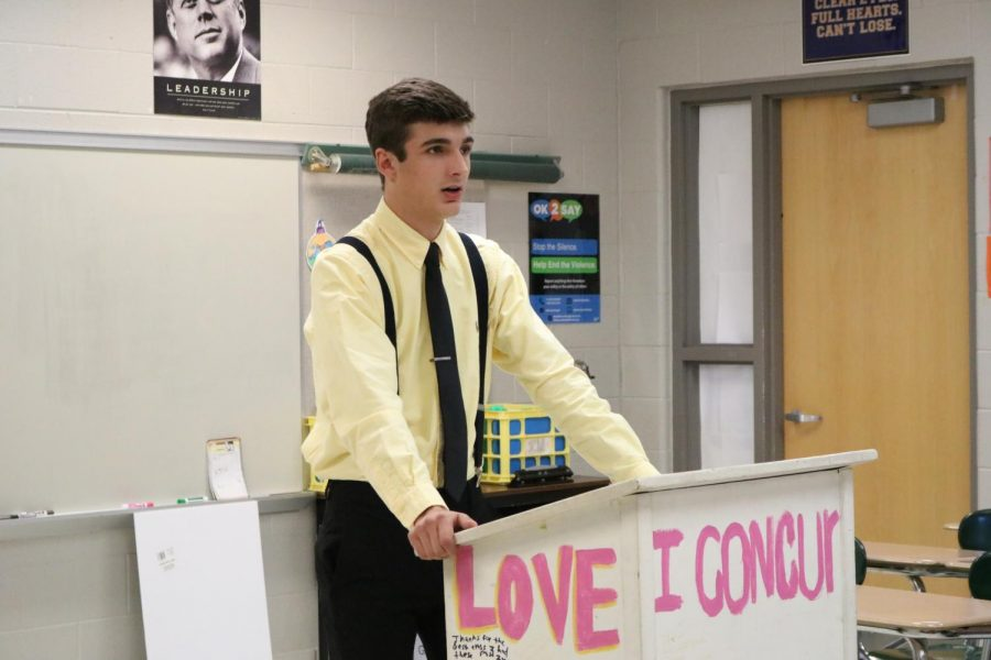 Sophomore Grant Bluthardt dresses up for the American Studies Tea Party to perform his speech.