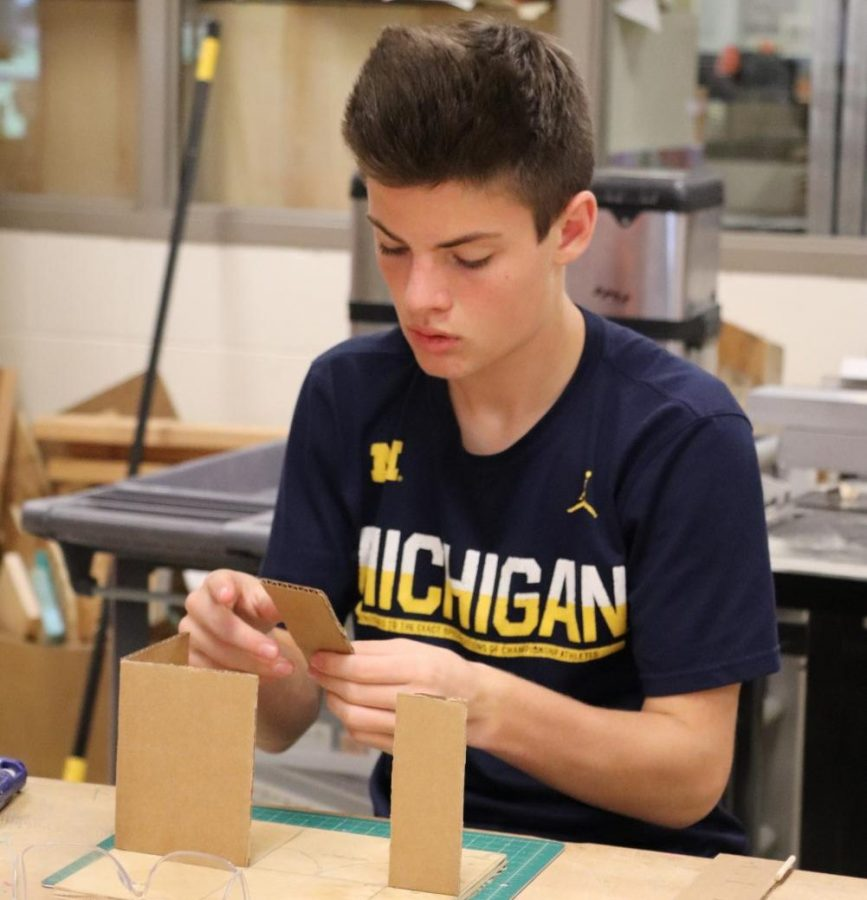 In his CADD class, freshman Hunter Wheeler constructs a haunted house for Halloween.