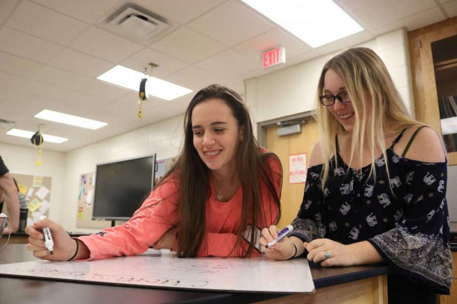 Juniors Alyssa Lawrence and Jenna Thornton create a particle diagram for their pressure lab in chemistry. The girls used a computer program to measure the pressure in a syringe before creating the diagram to explain what was happening with pressure in the syringe.