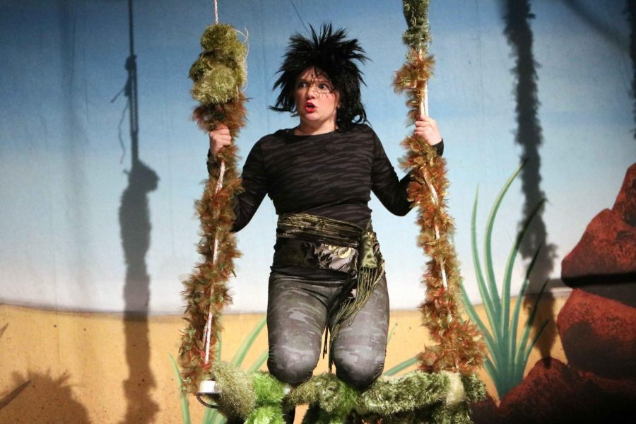During the first performance of Treasure Island, senior Sam Campbell swings upon a jungle swing.  Her character was Ben Gunn and the play was shown on Nov. 10, 11, and 12.