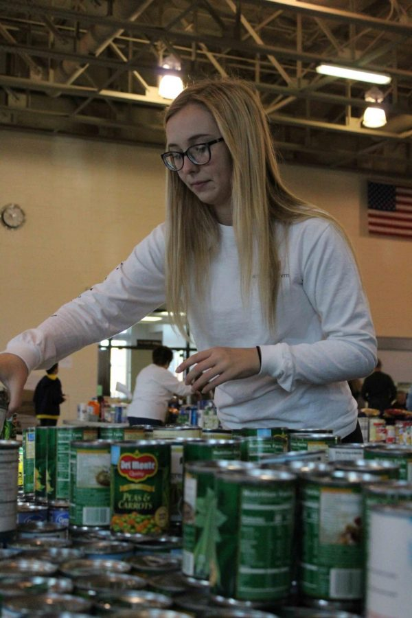 Senior Kelly Canning is organizing canned vegetables for an NHS event. NHS and Key Club members organized perishable good for Stuff The Bus. The food goes to needy families in Fenton during the holiday season.