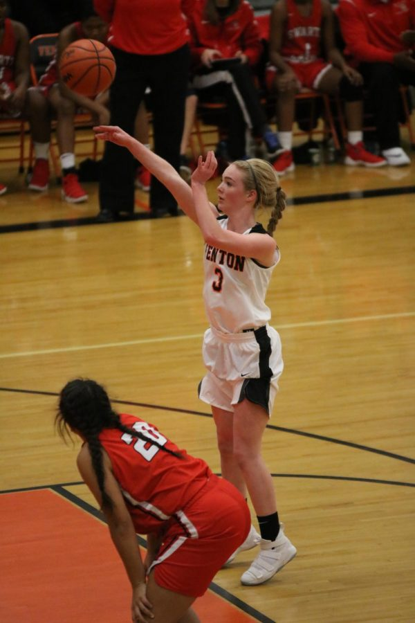 Going for the free-throw, junior Lauren Murphy makes the basket after being fouled against.
