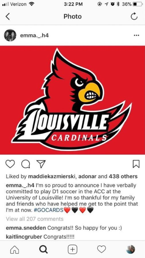 Sophomore Emma Hiscock has decided to continue her soccer career at the University of Louisville.