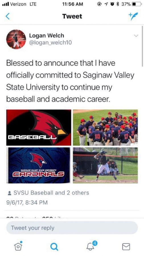 Junior Logan Welch has committed to Saginaw Valley State University to play baseball.