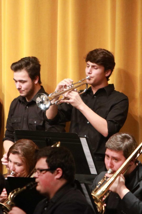 Sophomore, Joe Fleck plays his trumpet solo. The Jazz Band Orchestra played on Dec. 7, he band plays again on Dec. 8.