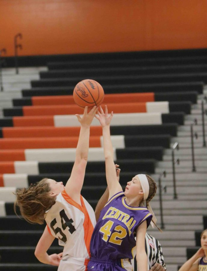Freshman Kyla Lynch starting off the girls Basketball game against Bay city Central winning 57- 42. The girls have another game against Hartland at home on Dec. 19th.