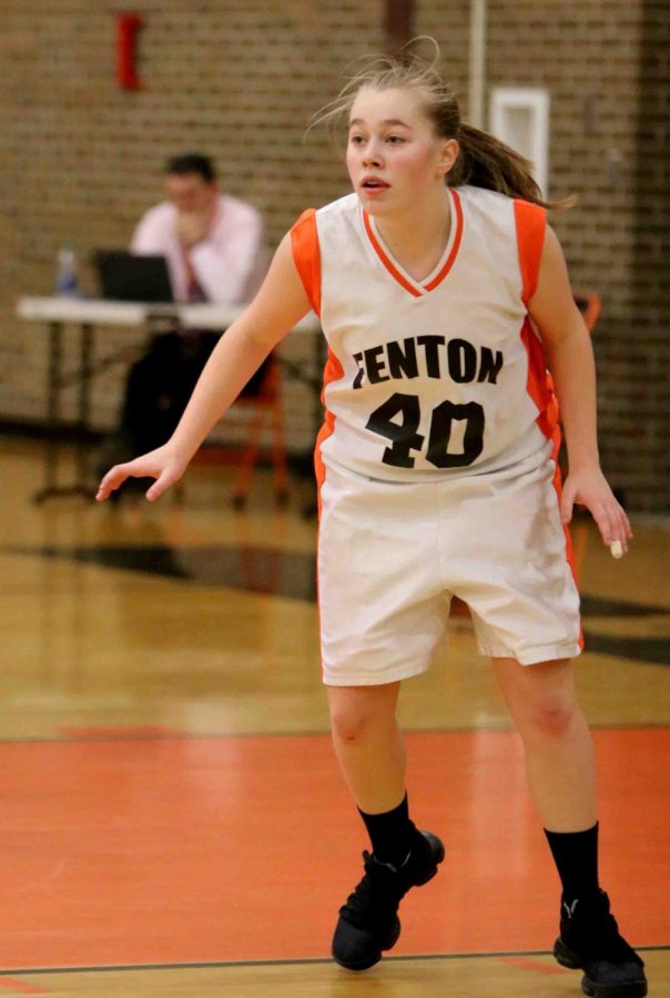 Freshman Kaytlyn Couch playing for her team on December 7th against Flushing. Fenton lost to Flushing 35- 33. They play again at home against Bay City Central.