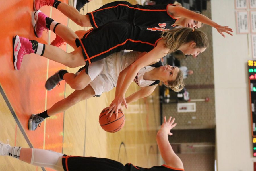 Pushing her way in, junior Hanna Chapin trys to get the ball in the basket. The girls won with a score of 63-45 against Clio.