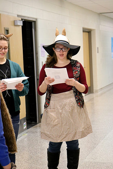 Junior Erica Korzenowski practices her skit for drama class. Korzenowski and her group were dressed as camels for their skit.