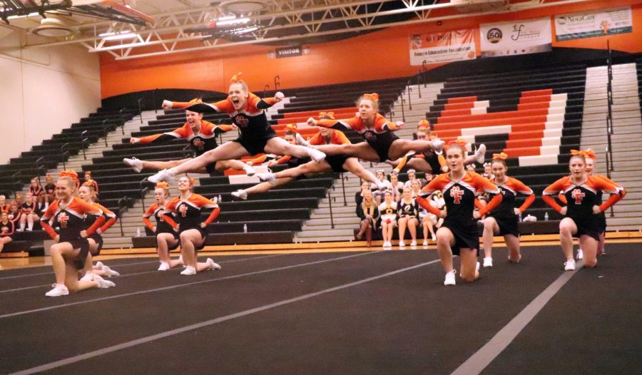 During their home competition, the Fenton Competitive Cheer team performs their routine. The girls next competition will be at Linden on Wednesday, Jan. 24 at 6:00 p.m.