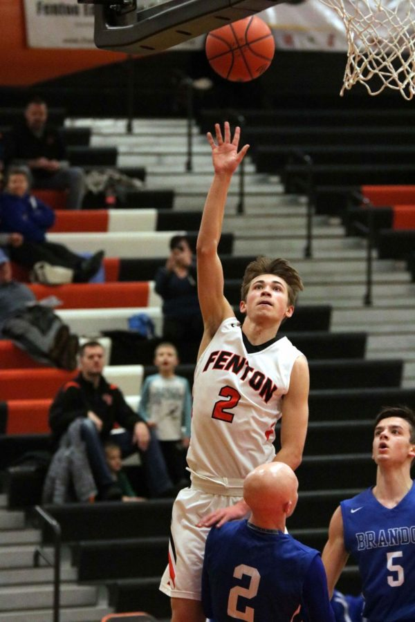 Sophomore Addison McIntosh shoots the basketball during the Brandon game on Jan. 23.  They won 69-57 and their next home game is Jan. 30.