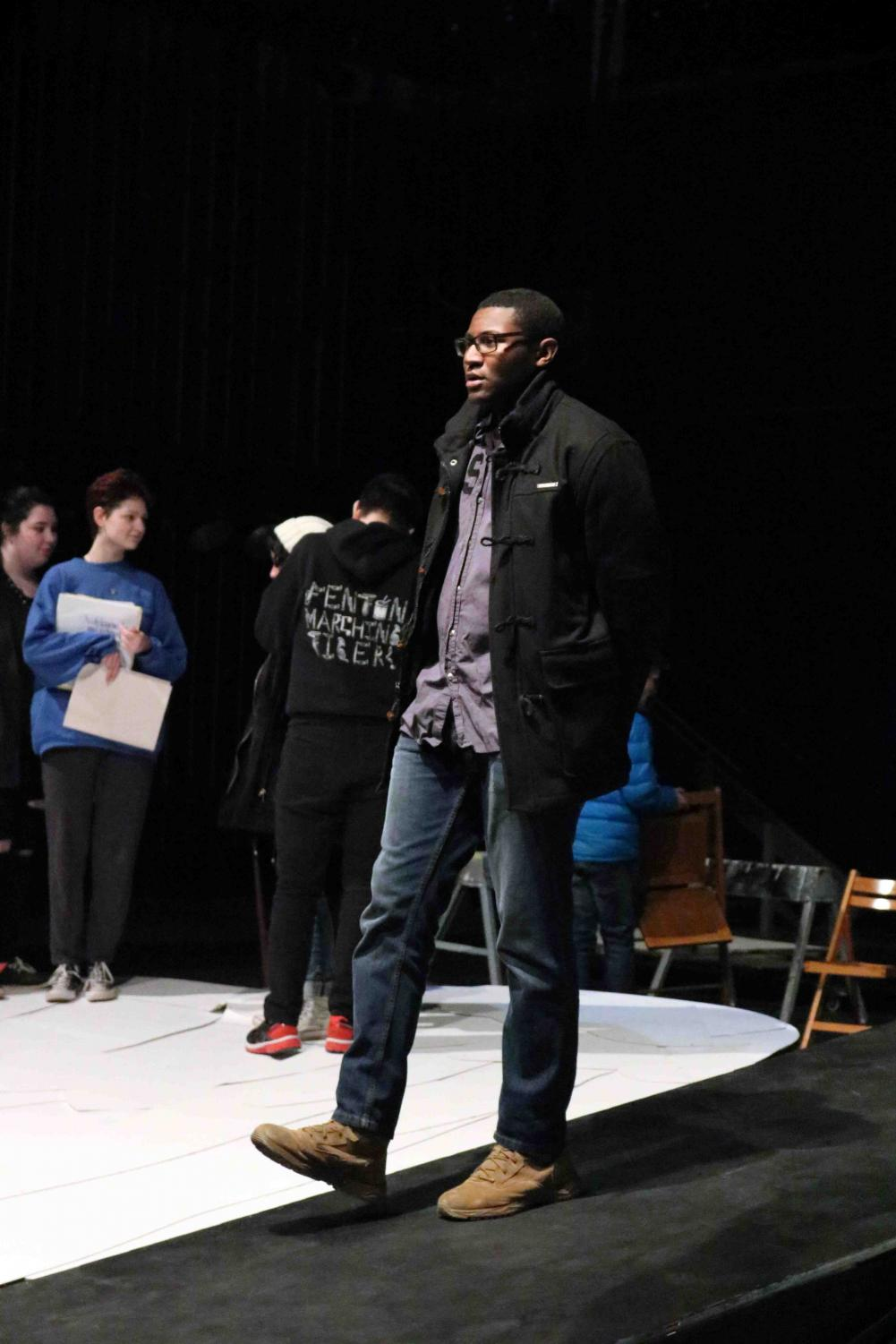 Senior Donnie Hall practices his lines at rehearsal for The Laramie Project. The IB Theater performance  was rescheduled for Feb. 16-18.