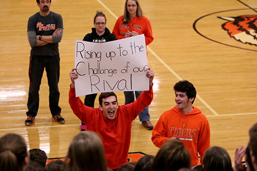 Leading his class in song, sophomore Ricky Giltrop chants the lyrics to the song. The sophomore class won the sing along and went on to win the spirit stick at the winter pep assembly.