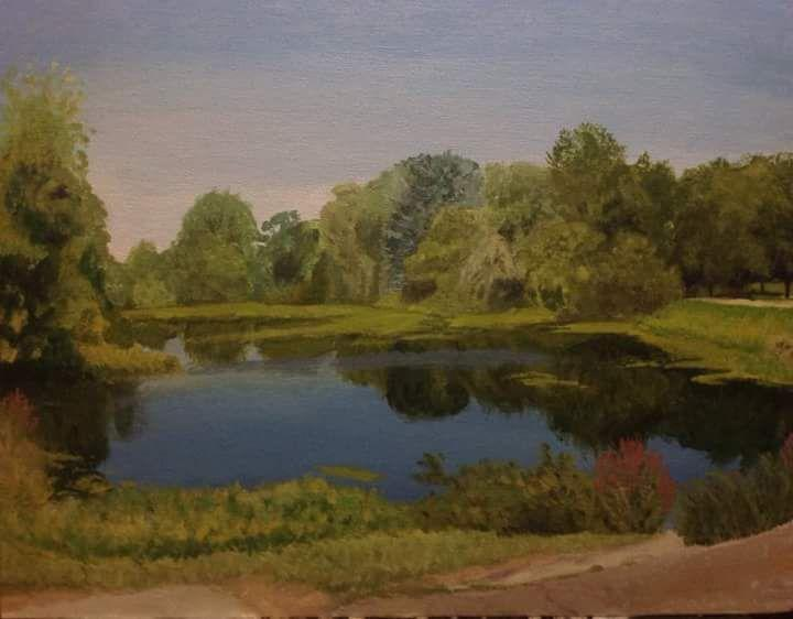 Senior Samantha Baxter wins honorable mention award for her painting of the Millpond located downtown Fenton. The competition was held by Kendall College of Art and Design of Ferris State University.