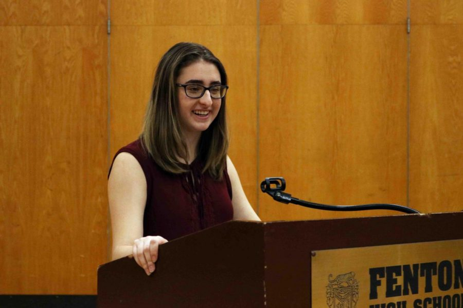 Junior Ellie Bennett leads the Parkland Memorial Assembly on March 14. The memorial was held inn SRT to honor the lives lost in the school shooting at Parkland High School.