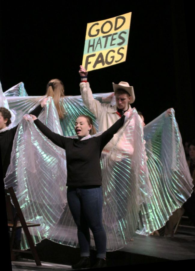 The Laramie Project put on by IB theater is a controversial play about Matt Scott who was beat to death for his sexual orientation. Some members played the challenging roles of protesters of gay rights.
