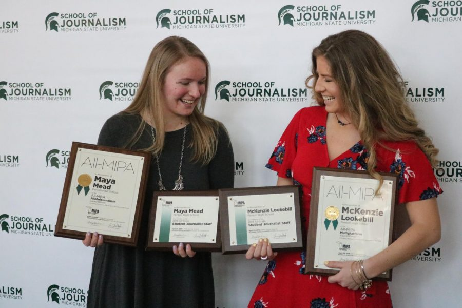 Holding up their awards, seniors Mckenzie Lookebill and Maya Mead pose together to show off their accomplishments. The girls both made it onto the state journalism staff, along with winning the All MIPA award for multi platform and photojournalism.
