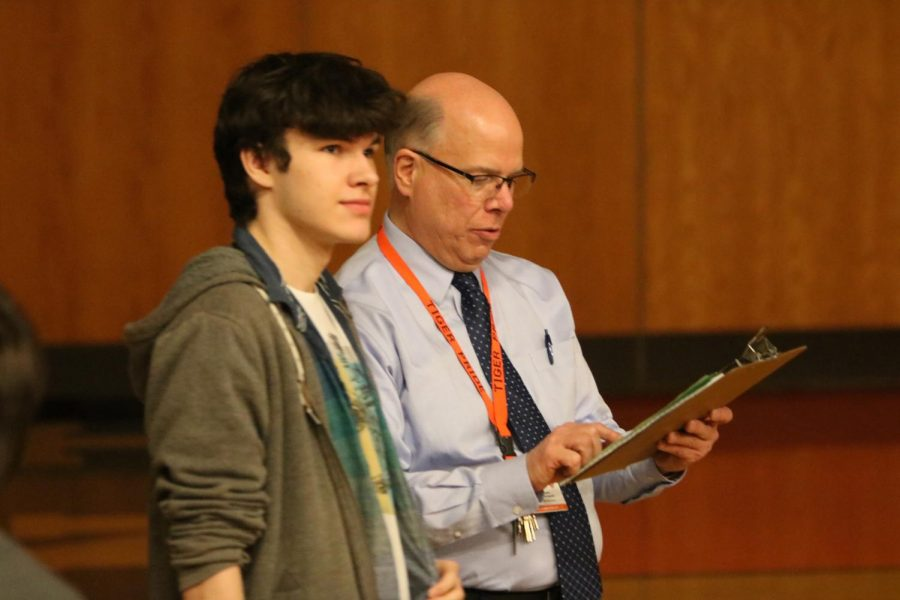 On March 28, Fenton High organizes an assembly to address school safety.  Fenton High principal, Mark Suchowski, held a clipboard in his hands to guide students to their assigned seat.
