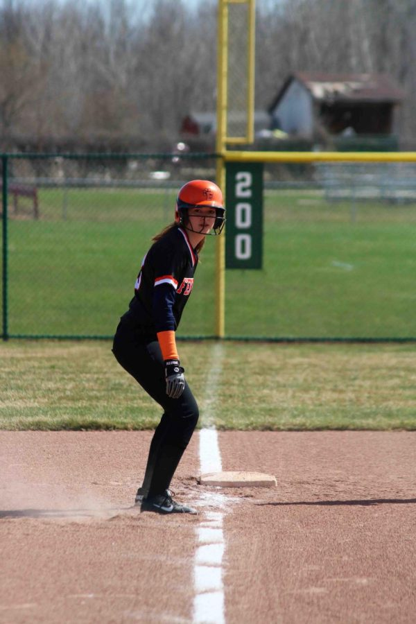 Junior Rachel Marshall steps off the base preparing to run to home base. The girls softball team lost to Swartz Creek on April 26.