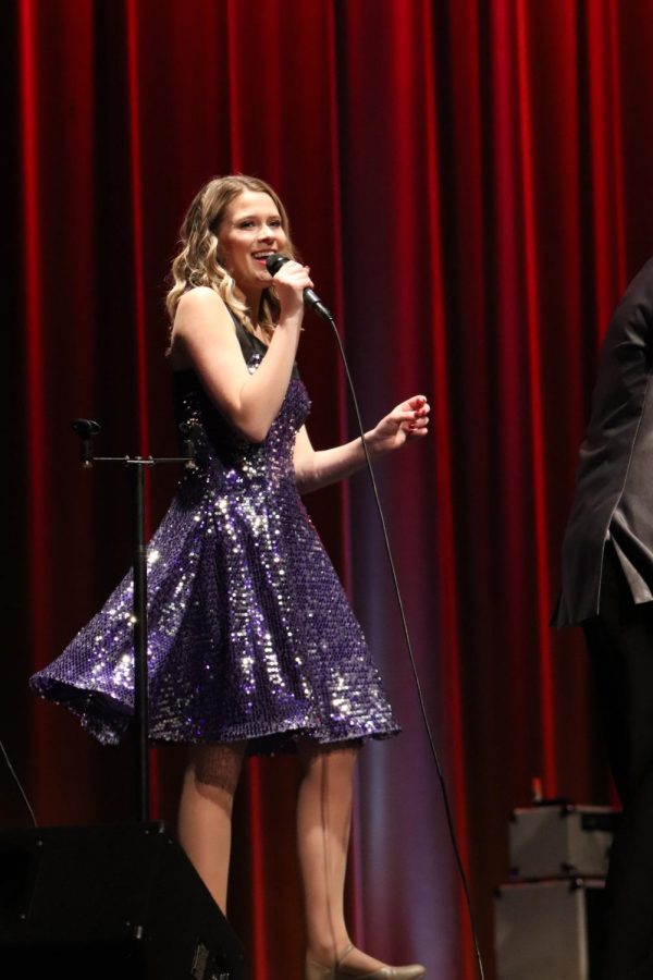 Soaking up every last minute on stage, senior Lauren Bedell smiles as she sings one of her last songs as an Ambassador. The Ambassadors sang their annual spring concert May 11th and 12th as they said goodbye to all the seniors who contributed to their concerts.