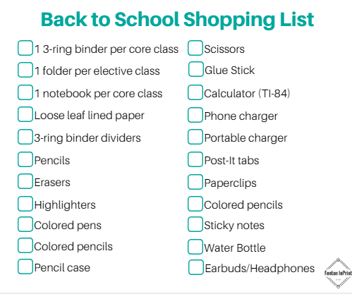 167b89b72cfb Back to school shopping list | Fenton InPrint Online