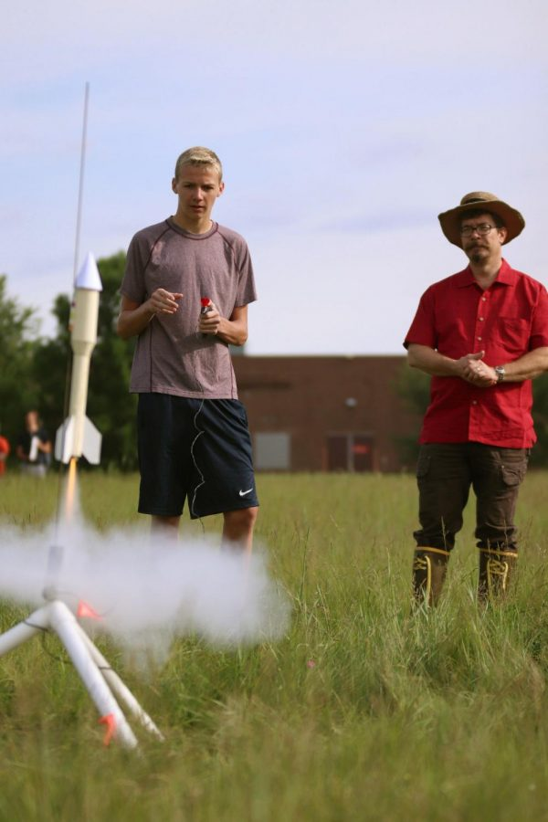 Freshman Gavin Crew launches his rocket he made in Mr. Cocagne's 1B CADD 1 Mechanical. Crew had been working on his rocket for a while and was really happy to see it perform well on launch day.