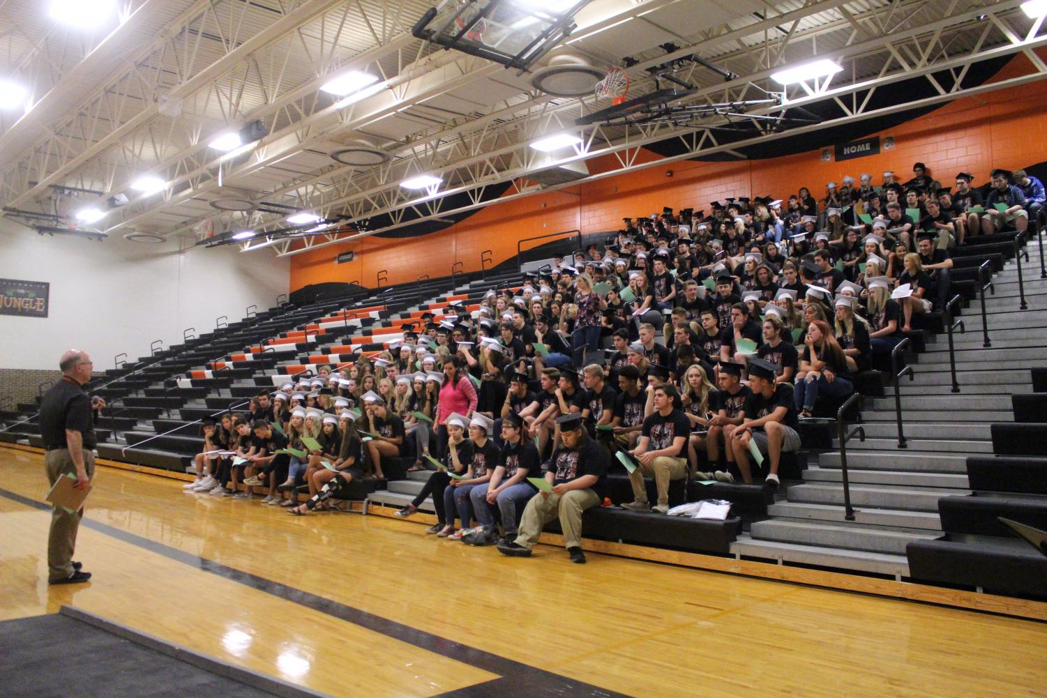 Principal Mark Suchowski gives a speech to the senior class on June 6. The senior class attended a meeting to prepare for graduation and the Honor Assembly.