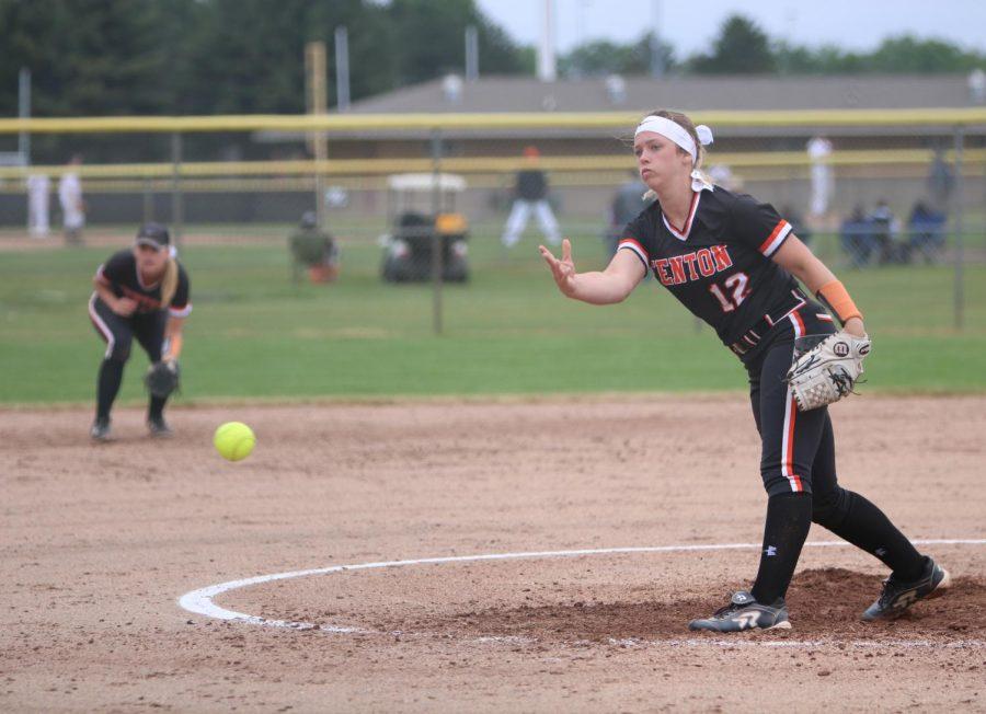 Sophomore Hailee Prater throws a softball at Milford batter on June 2. Fenton High girls varsity softball lost 5-2.