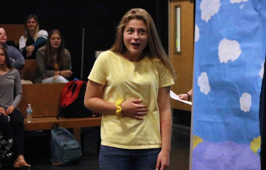Sophomore Hannah Young performs her part in her groups play during Drama Day. Drama Day was held all day on May 21 with students performing plays and monologues.