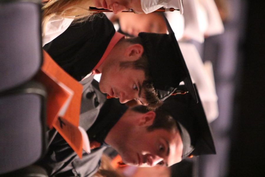 Senior Joshua Maher and Grady Sonderoth enjoy the baccalaureate finally from the eyes of a senior. They were both very proud to share this moment with their God.