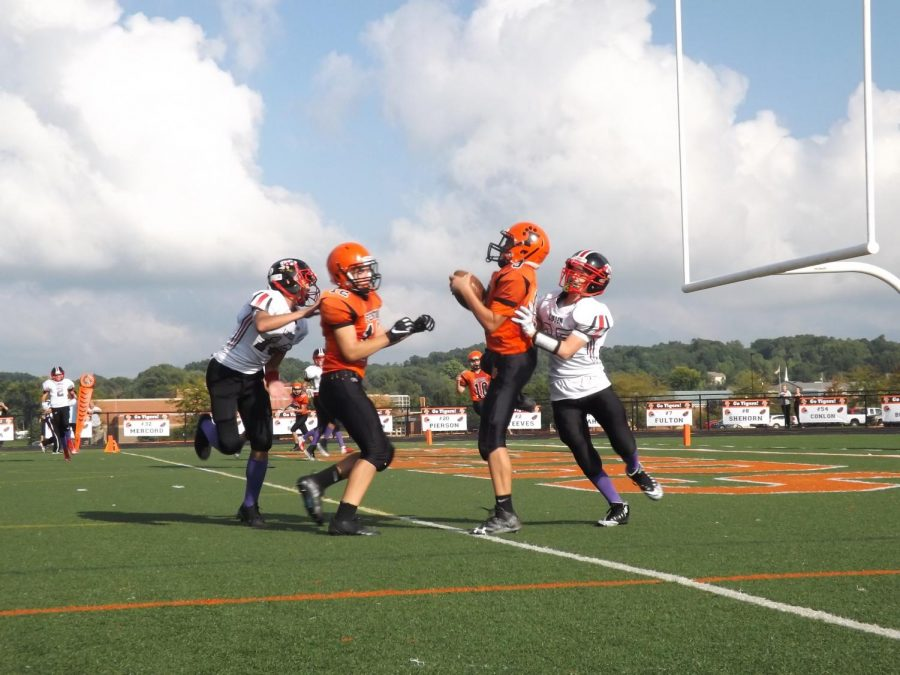 The evening of the 16th, Fenton freshman football faced Linden at the home field. Freshman Seth Logan caught the ball that  helped win Fenton the game.
