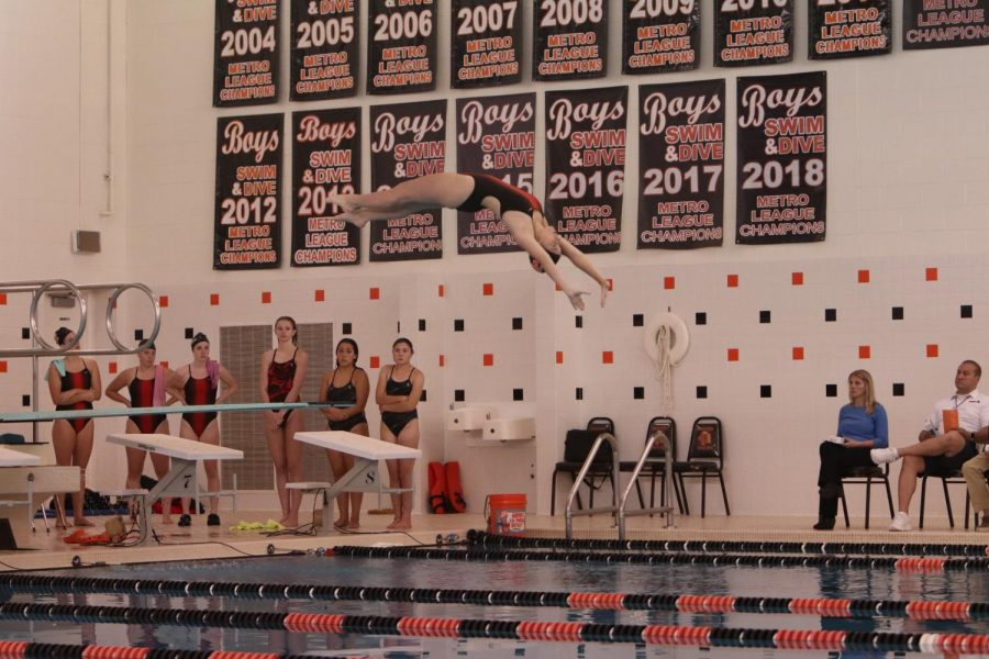 The smell of chlorine, the sound of splashing and the dead silence before the dive. Junior Morgan Smith arching her back to make the most perfect dive she could.