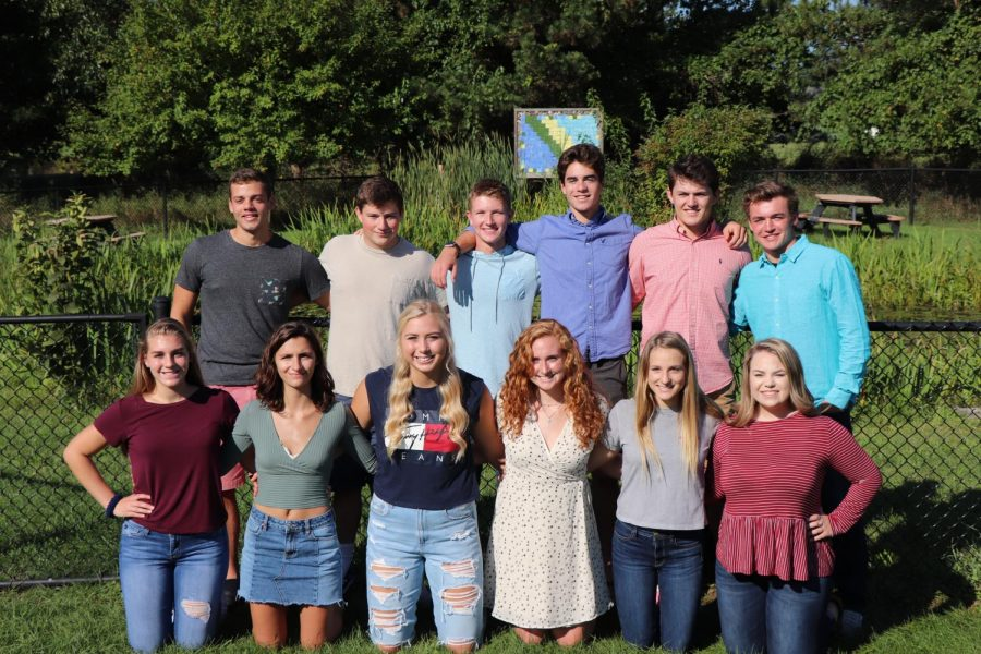 Senior homecoming court- (bottom row from left) Megan Armbruster, Madeline Bluthardt, Chloe Idoni, Sophie Frost, Emma Snedden and Emily Hayes. (top row from left) Keegan Jarret, Lance Mercord,  Nolan Day, Gabe Horton, Eythan Fulton and Brock Henson.