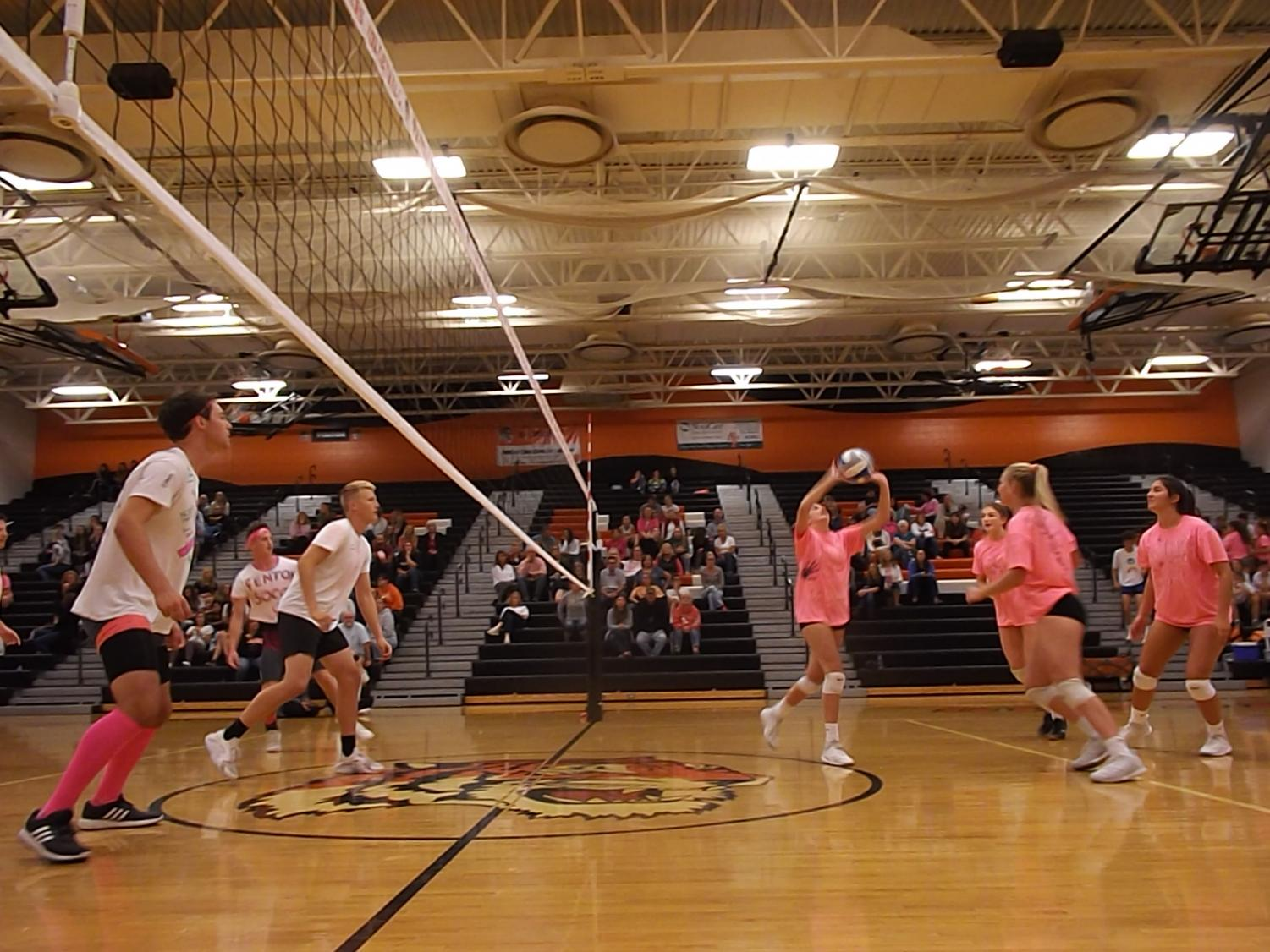 While junior Sydney Acho sets up the ball to middle hitter senior Erin Carter, the boys varsity soccer team watches on. The girls volleyball and boys soccer programs participated in Volley-4-a-cure fundraiser for the Negley family.