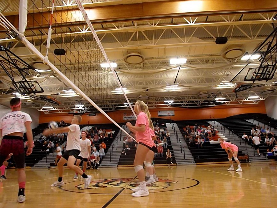 While senior Chloe Idoni waits for the ball to go over the fence and score the point that helps win the volleyball team the match. The girls volleyball and boys soccer programs participated in Volley 4 a Cure to raise money for the Negley family.