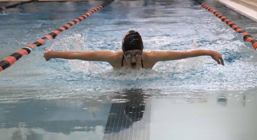Swimming the 100 yard butterfly freshman Rosie Haney landed in second place against Kearsley. Overall, the Fenton girls swim team beat Kearsley 200-120.