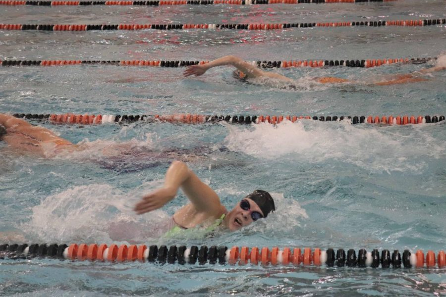 In their practice for hell week senior Megan Mallard is wearing tights and two swimsuits to help make her swim faster. The girls had there traditional hell week Monday Oct.22. though Friday Oct. 26.